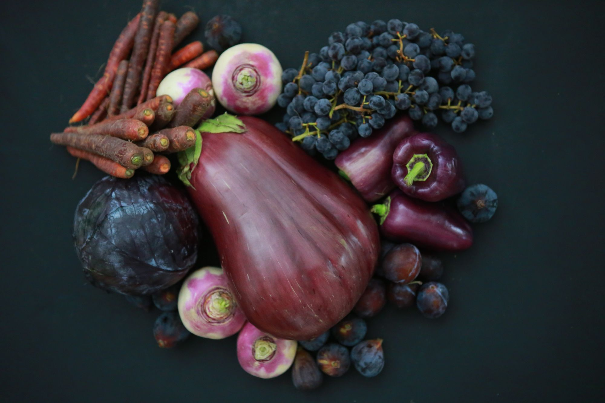 Healthy purple foods include eggplant, beets, and berries by kristen-kaethler