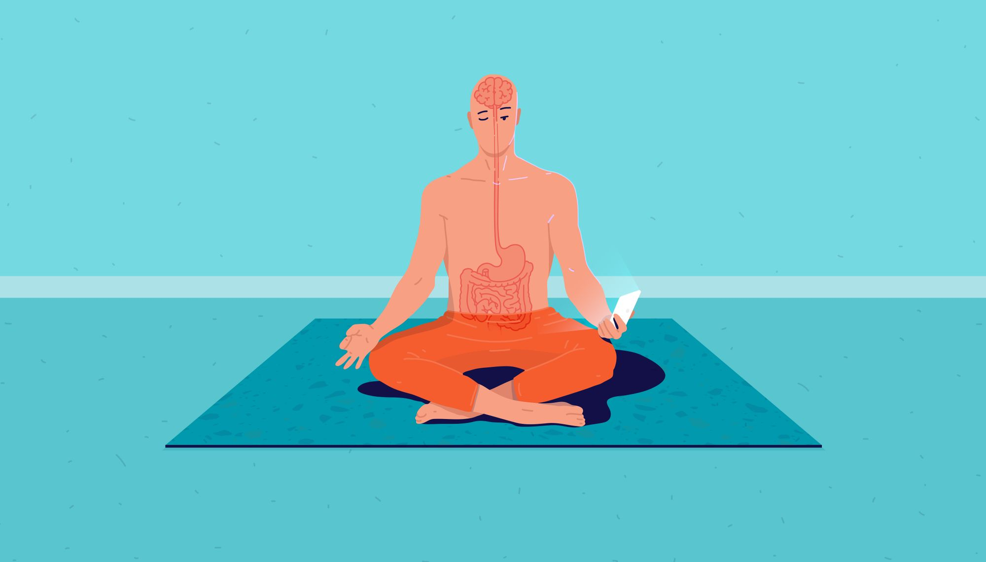 Man meditating holding phone with digestive system and brain shown as connected.
